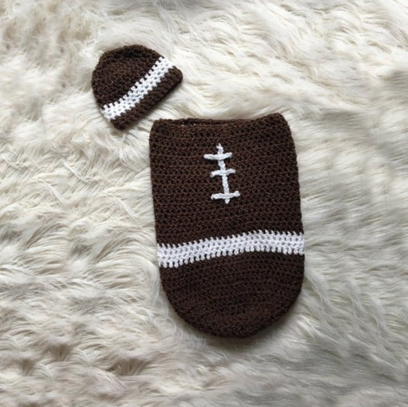 9d879fcc3 Crochet Baby Football Cocoon - Baby Football Blanket - Baby Football  Swaddle - Football blanket and hat - Newborn Photoshoot Prop - Brown