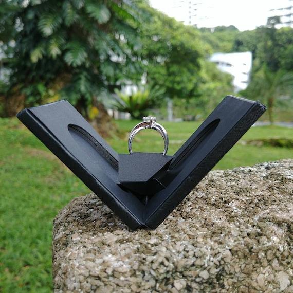 Thin Enement Ring Box | Thin Engagement Ring Box Slim Handmade Ring Box Etsy