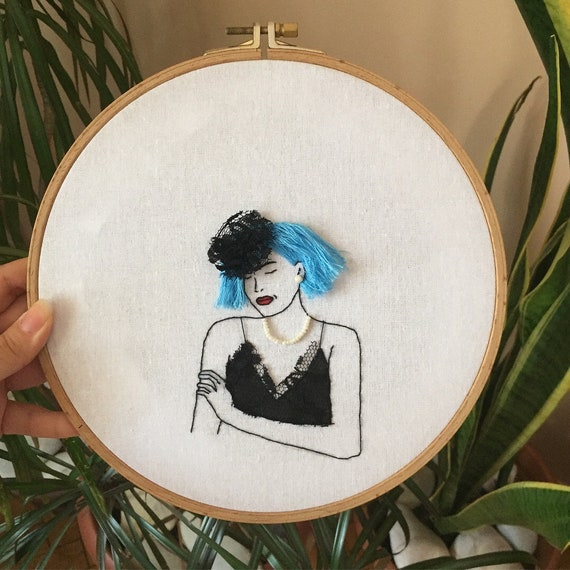 Retro Embroidered Lady With Lace Dress And Blue Hair Fashion Etsy
