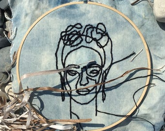 Frida Kalo - Hand Embroidered Hoop Decor, wall|house decor wall hanging, modern embroidery, gift