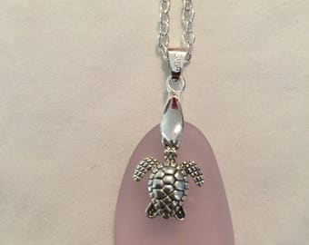 "18"" sea glass sea turtle necklace"