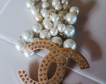 Statement necklace large cascading pearls stunning wedding night party
