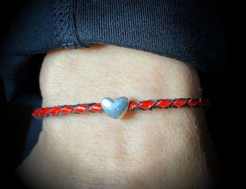 Solid Sterling Silver Heart /& Leather Petite Bracelet