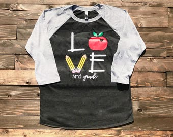 Teacher LOVE 3rd grade shirt