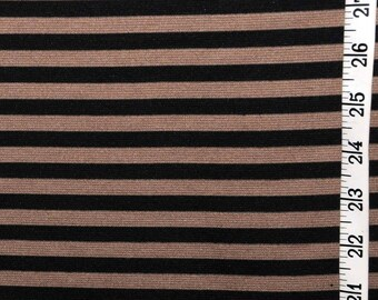 Brown and black stripe ponte knit by the yard
