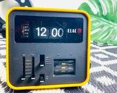 Vintage Flip Clock ELAC RD100, yellow, 70s