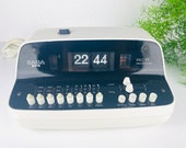 Vintage Flip Clock white, Saba RC11, 70s space age design, retro radio alarm clock