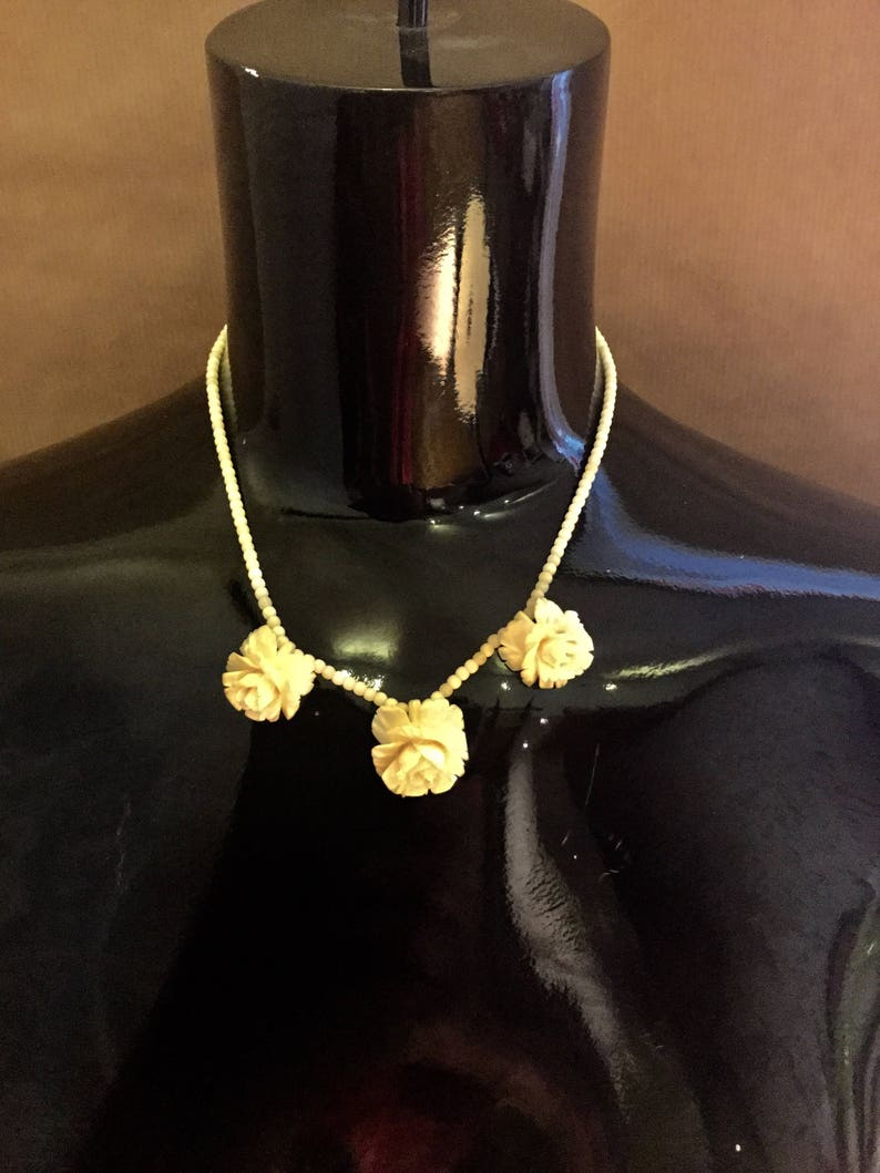 antique horn roses leg antique jewelry pearls Rose necklace antique Chain jewelry