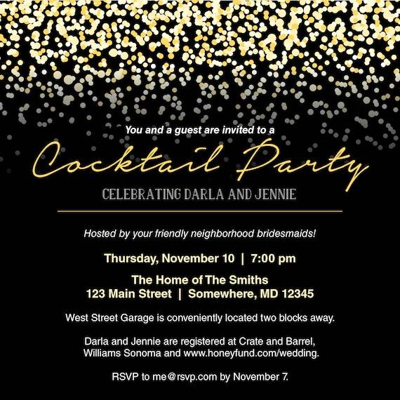 Schwarz Und Gold Cocktail Party Einladung Digitale Datei