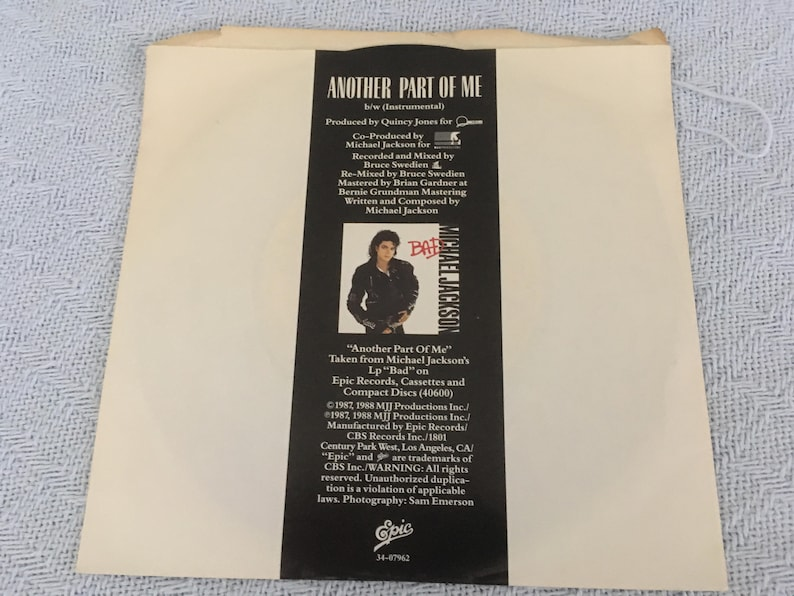 Michael Jackson Another Part Of Me 45 RPM Vinyl New Vintage Rare  Collectible Rock 'n' Roll Music