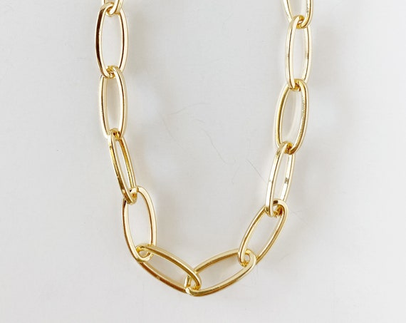 Large Paper Clip Chain Layering Necklace