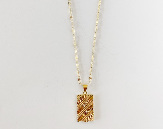 Patterned Rectangle Necklace