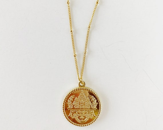 Golden Medallion Necklace in large