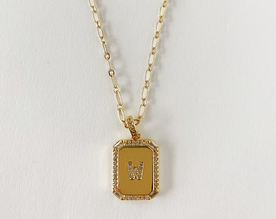 Golden Studded Initial Necklace