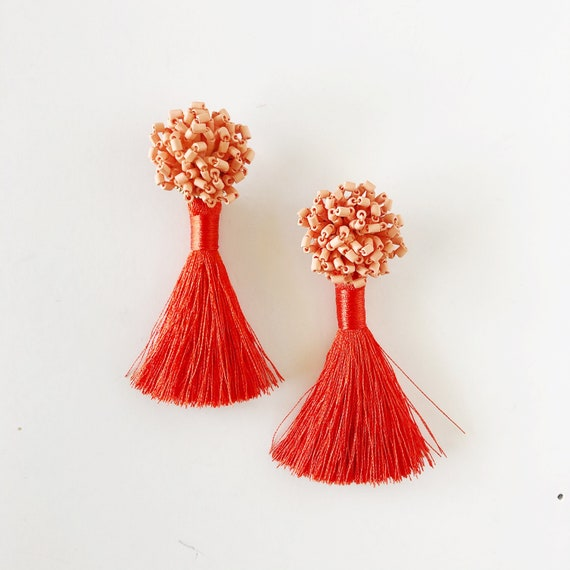 The Katy Earrings in Coral