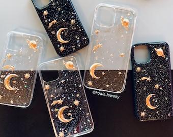 Moon & Stars Starry Sky Glitter Celestial Galaxy iPhone X Xs XR Xs Max / 11 PRO PRO Max / 12 Mini 12 Pro Max Phone Case