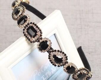 7b359241ae5 BACK IN STOCK Luxurious Women s Girls  Bejeweled Statement Retro Bridal Headband  Hairband with Large Black Geometric Rhinestones