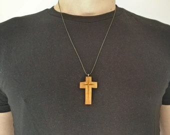 Wooden necklace, cross pendant