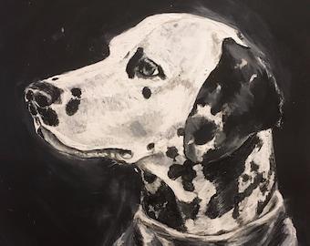 Custom Chalkboard Inspired Painted Pet Portrait - Handpainted Originals made to order