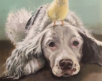 Custom Painted Pet Portrait on Canvas - Made to order - gifts - wall art - memorials