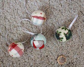 4cm Christmas fabric baubles