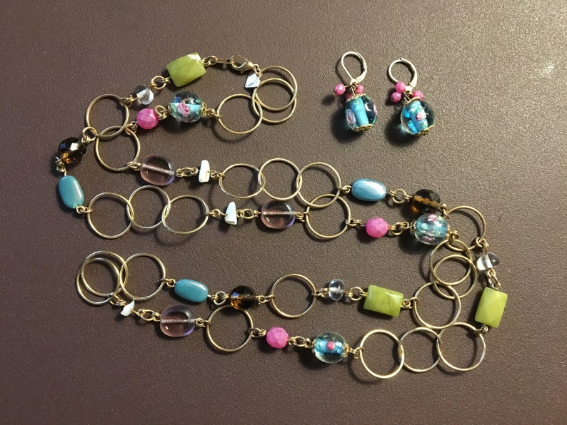 1990s COOKIE LEE Glass Beads /& Gold Hoops Necklaces and Pierced Earrings