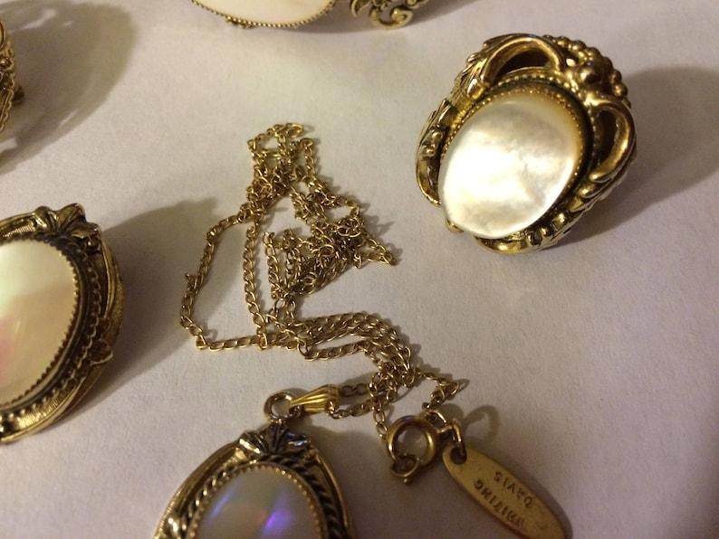 1950s Whiting /& Davis Mother of Pearl Cabochon Gold Filigree Parure Pin Pendant 6-pc. set Bracelet Earrings Ring