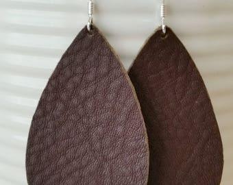 Rustic Brown Leather Earrings/Teardrop