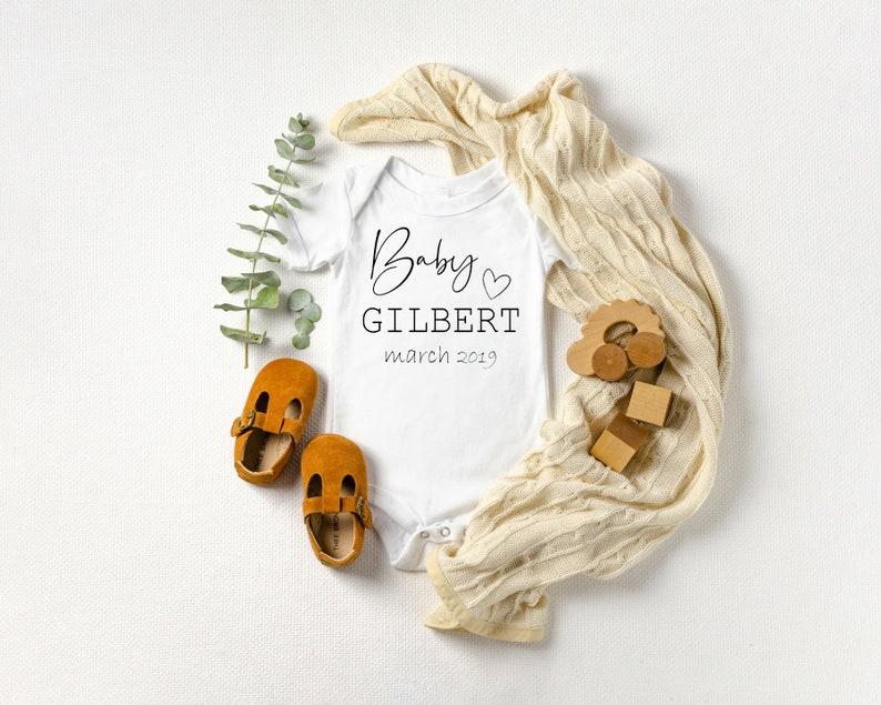 Newborn Onesie Hello Baby Custom Bodysuit Custom Pregnancy Announcement Onesie With Last Name and Due Date Heart- Baby Gift -Shower