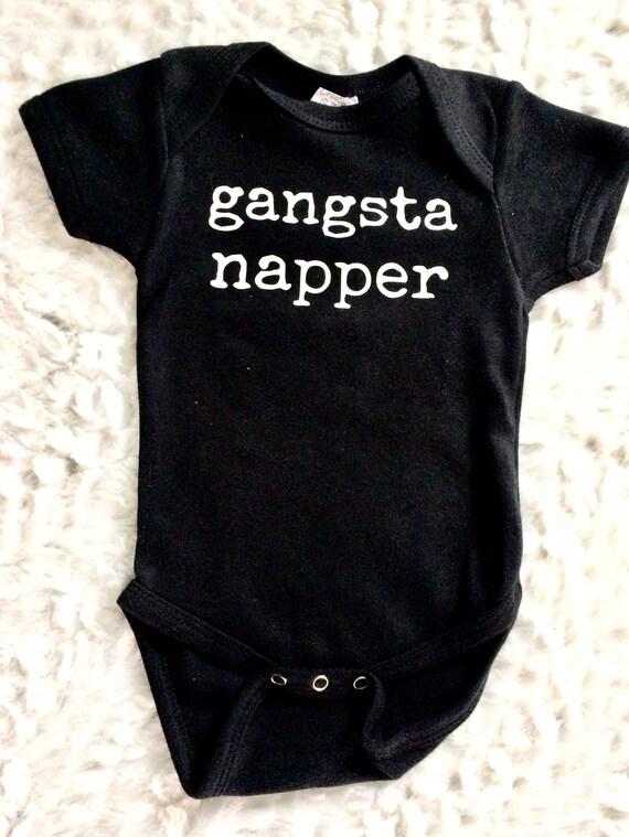 New Baby Gift Baby Creeper Baby Shower Gift Black Onesie\u00ae Gangster Napper Bodysuit Funny Baby Onesie\u00ae Modern Baby Clothes