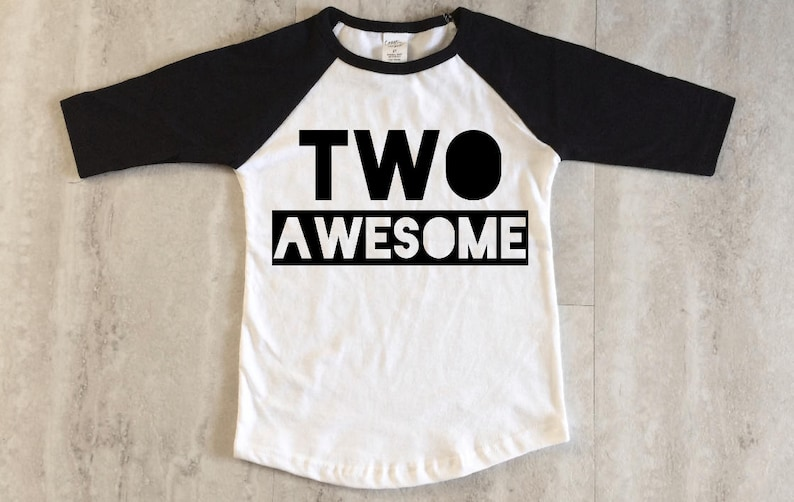 0f8b40cb83693 Two Awesome Toddler Kids Birthday Shirt, Monochrome Hipster party tee for  2nd birthday for boys or girls, cheap custom tee