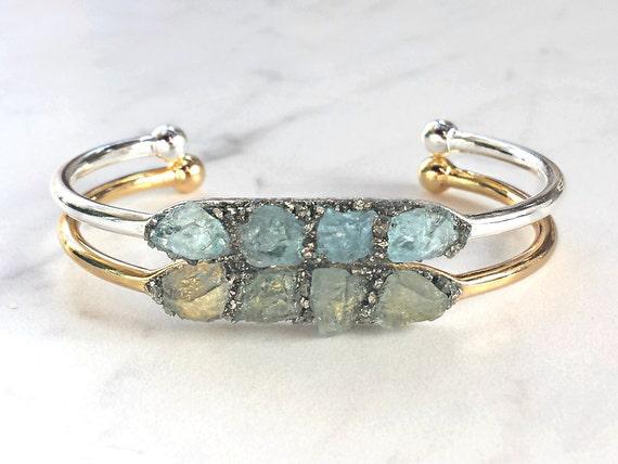 Aquamarine Bracelet Birthstone Bracelet March March Christmas Gift For Girlfriend,Anniversary Gift,Chakra Crystal Jewelry Raw Aquamarine