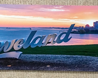 Cleveland Sign with view of downtown and Lake Erie at Sunrise - Cleveland wall art, Cleveland home decor, sunrise decor