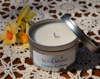 Clean Cotton Soy Candle in 8oz Tin with Lid
