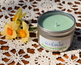 Peppermint & Cypress Soy Candle in 8oz Tin with Lid