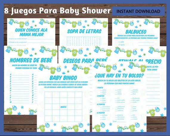 Juegos Baby Shower Juegos Spanish Baby Shower Spanish Baby Etsy