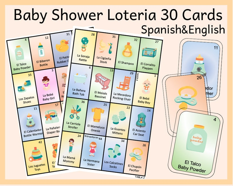 Baby Shower Loteria 30 Cards Spanish English Loteria Cards Etsy