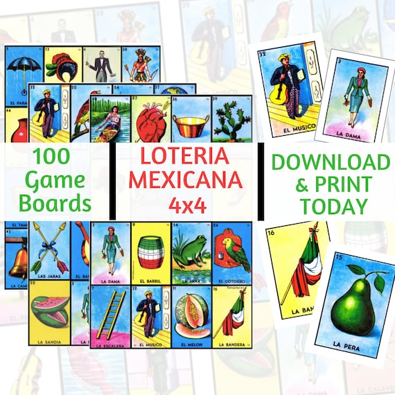 100 Loteria Cards 4x4 Game Boards Digital File Instant Etsy