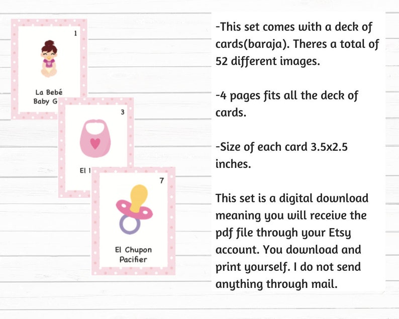 Baby Shower Loteria-Baby Girl Edition 100 Cards polka dots background