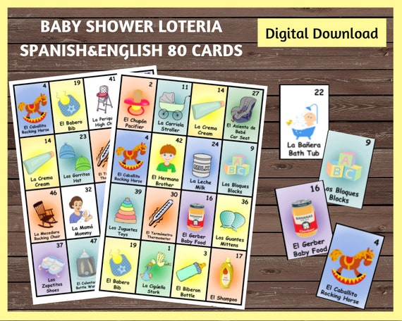 baby shower loteria 80 cards spanish english loteria cards etsy