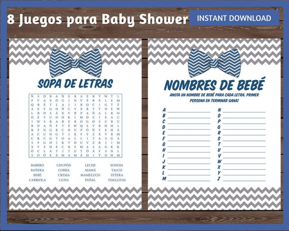 Juegos Baby Shower Juegos Spanish Baby Shower Spanish Baby Etsy