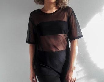 87a9cbe53257 Sheer Tshirt, Black Sheer Mesh Top, Sheer Tops Women, Mesh Top Women, Black  Sheer Top, See Through Top, White Sheer Top, Summer Cover Up