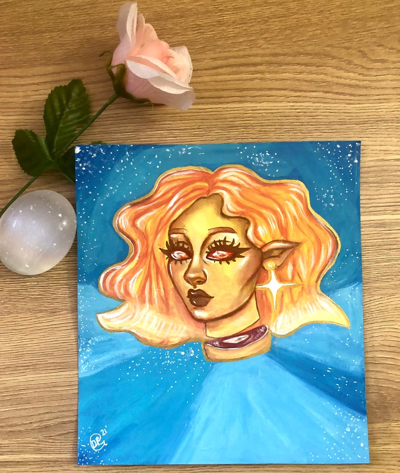 Sunshine Original Gouache and Acrylic Painting