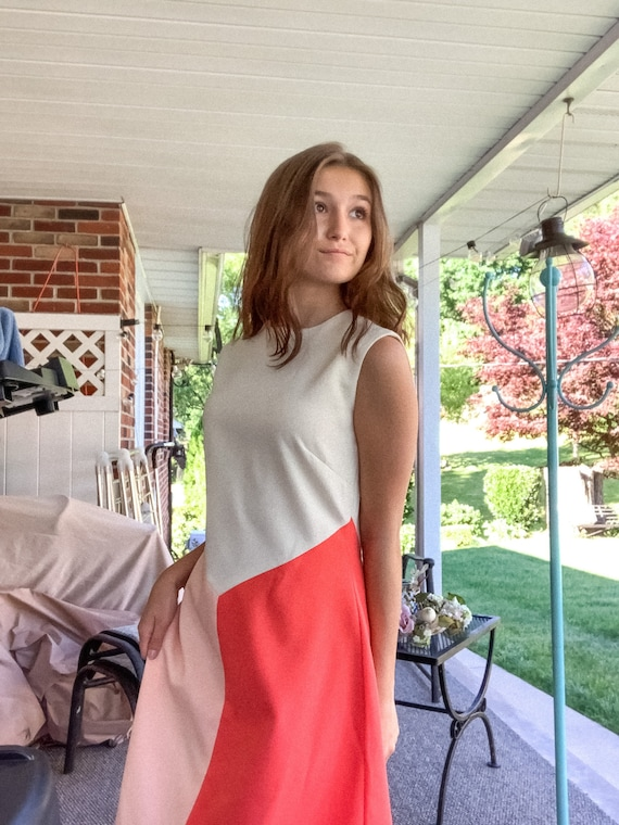 Vintage Color-block Sleeveless Dress