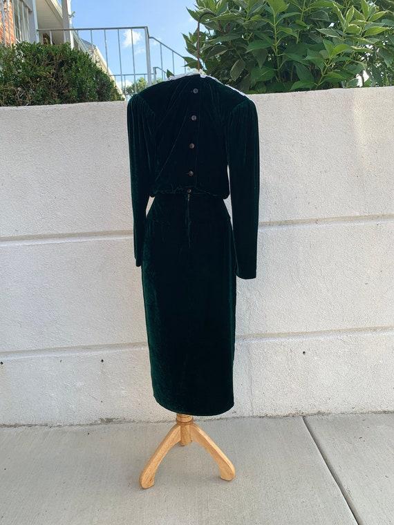 Vintage 80's Velvet Green Dress By Jessica McClin… - image 7