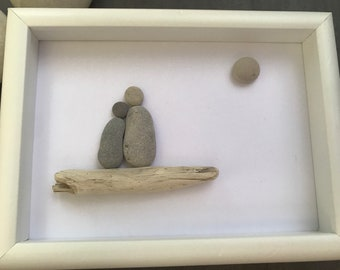 PEBBLE ART SINGLE with child - huronshoreart
