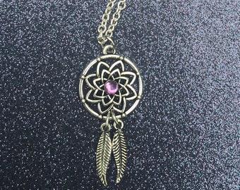 Dream Catcher with Purple Jewel Accent Necklace