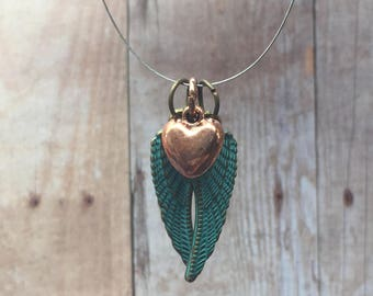 Rustic angel wings necklace