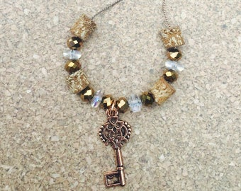 Copper key and cork necklace