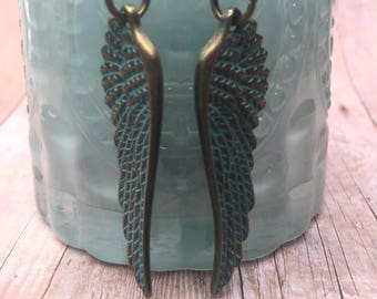 Patina angel wings earrings